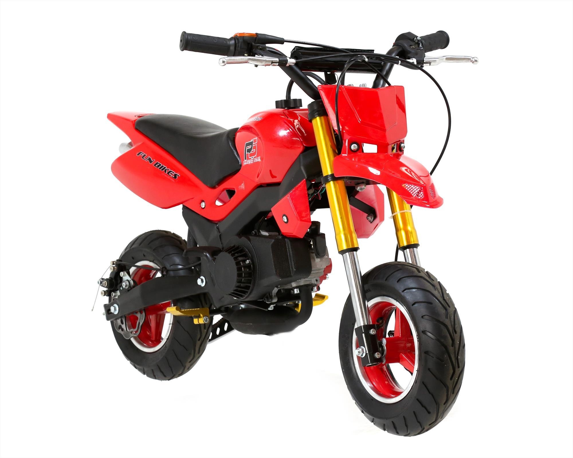 funbikes super motard 50cc 48cm petrol red mini moto bike. Black Bedroom Furniture Sets. Home Design Ideas