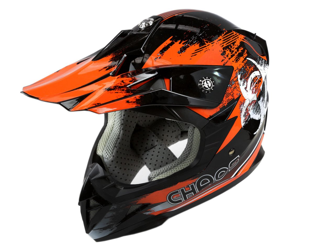 chaos kids motocross crash helmet orange. Black Bedroom Furniture Sets. Home Design Ideas