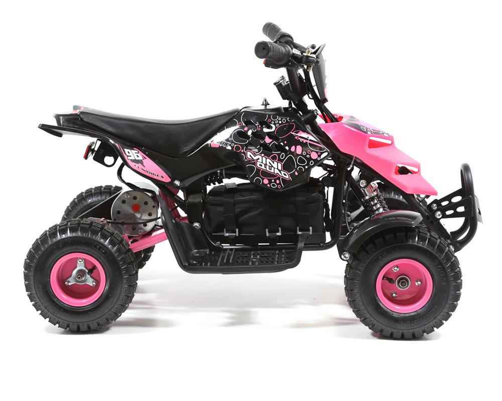 funbikes 800w pink battery powered electric kids mini quad. Black Bedroom Furniture Sets. Home Design Ideas