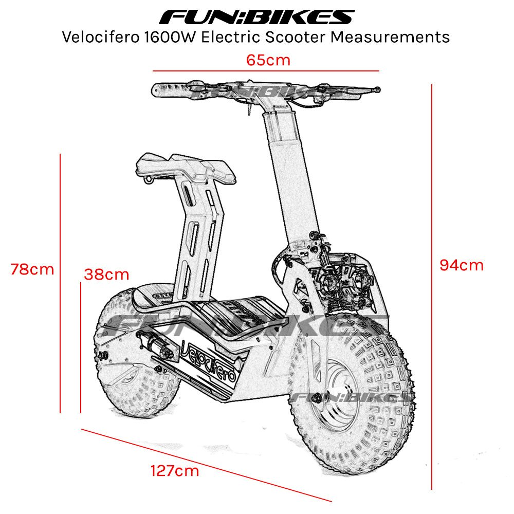 velocifero 48 volt 1600w electric scooter big wheel powerboard