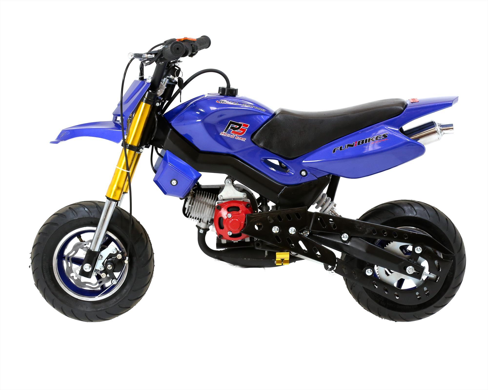 funbikes super motard 50cc 48cm petrol blue mini moto bike. Black Bedroom Furniture Sets. Home Design Ideas