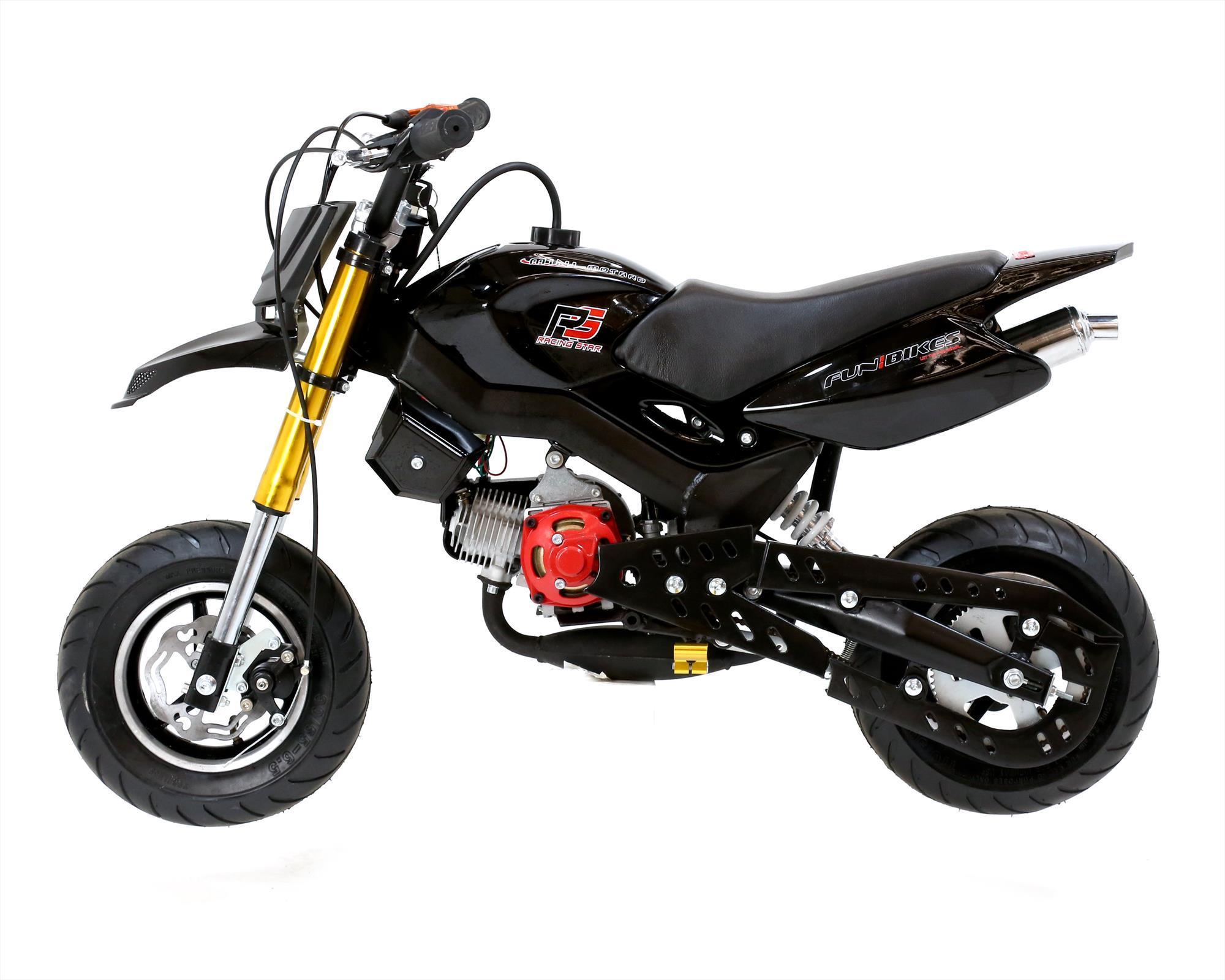 funbikes super motard 50cc 48cm petrol black mini moto bike. Black Bedroom Furniture Sets. Home Design Ideas