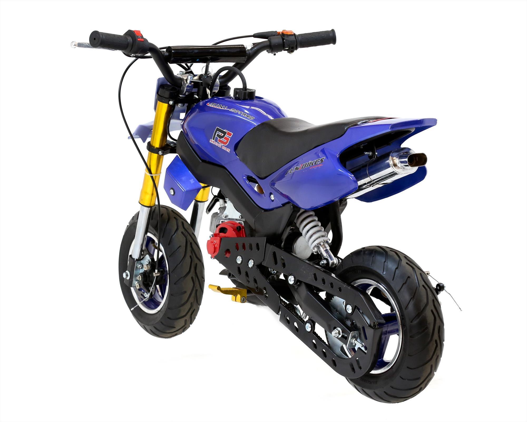 funbikes super motard 50cc 48cm petrol blue mini moto bike. Black Bedroom Furniture Sets. Home Design Ideas