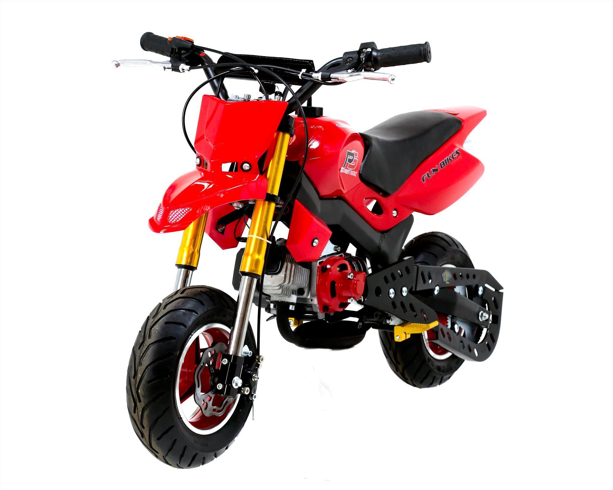 funbikes super motard 50cc 48cm petrol red mini moto bike. Black Bedroom Furniture Sets. Home Design Ideas