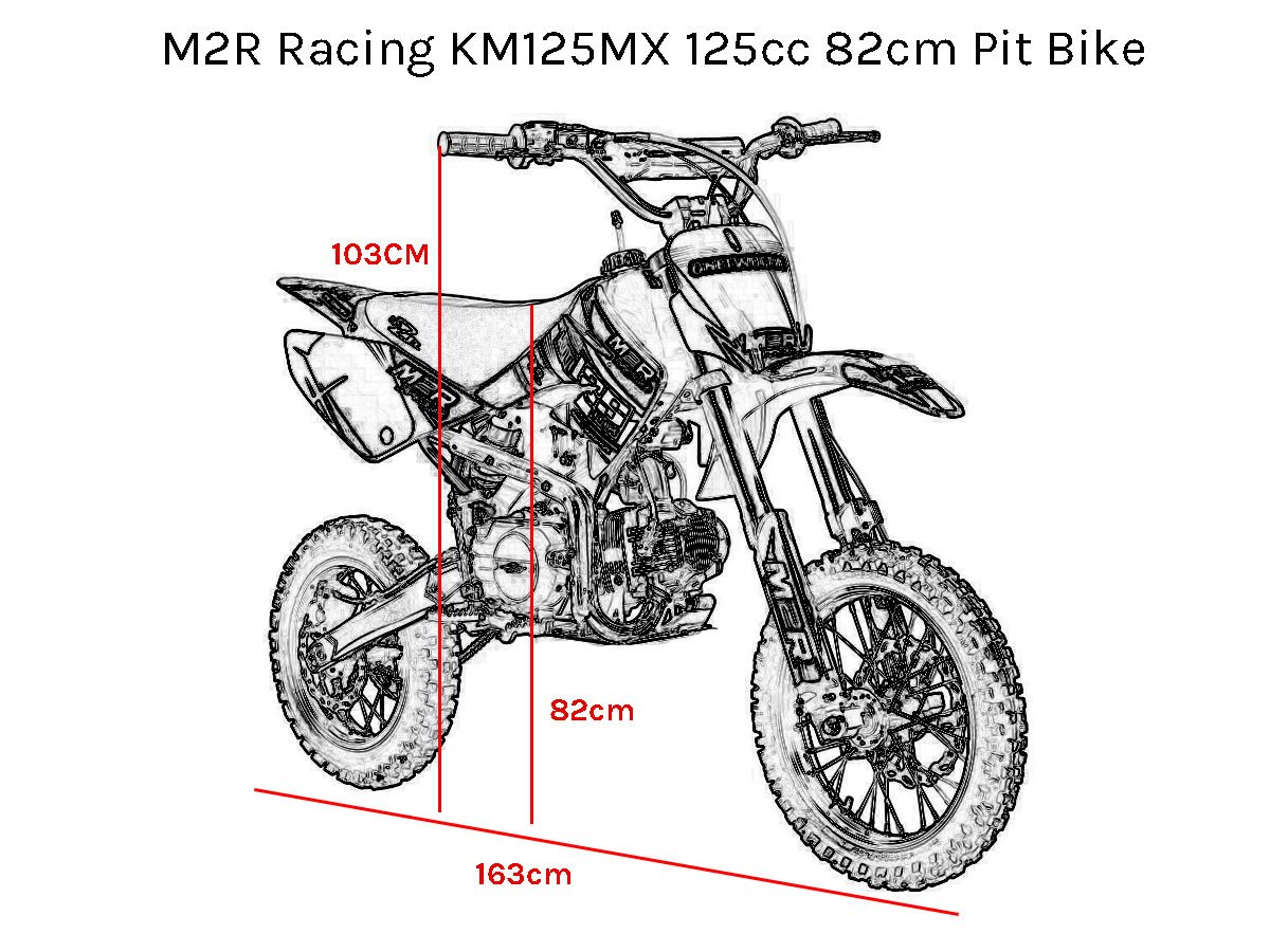 m2r racing km125mx 125cc petrol 82cm yellow pit bike