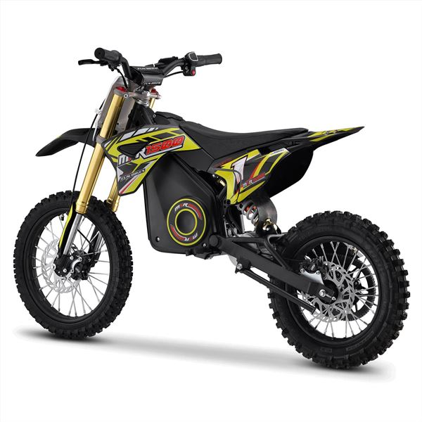 FunBikes MXR 1500w 48v Lithium Electric 14/12 Yellow Kids Dirt Bike
