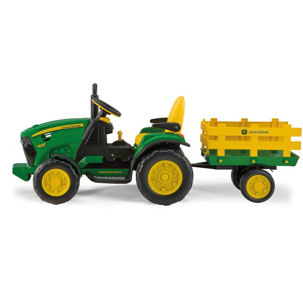 Peg Perego John Deere 12v Ground Force Ride On Tractor With Trailer