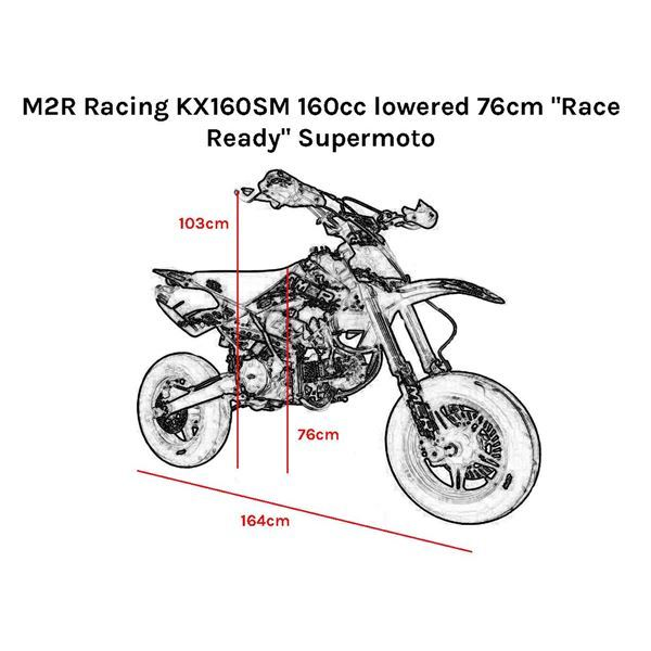 "M2R Racing KX160SM 160cc lowered 76cm ""Race Ready"" Supermoto"