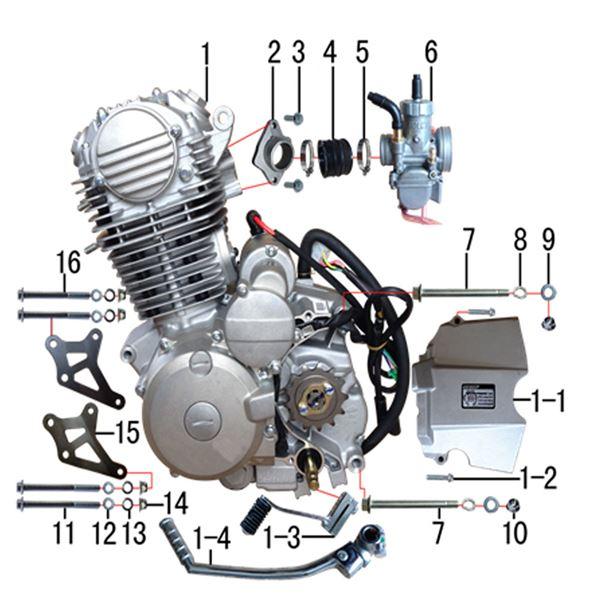 M2R M1 250cc Dirt Bike Basic Engine