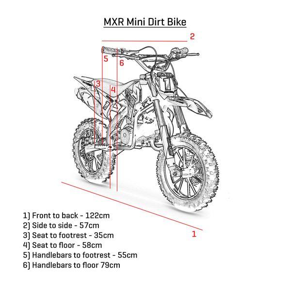 funbikes mxr 50cc 61cm blue black kids mini dirt motorbike