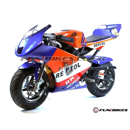 FunBikes MT4A 50cc 46cm Blue Orange Mini Moto Racing Bike