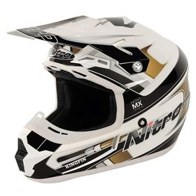 Nitro MX-600 Kingpin Motocross Crash Helmet White/Black/Silver/Gold