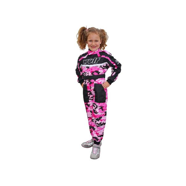 Wulfsport Cub Racing Suit Pink Camo