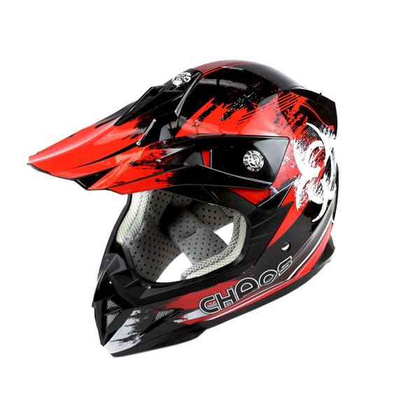 Chaos Kids Motocross Crash Helmet Red