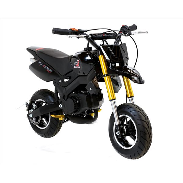 funbikes super motard 50cc 48cm petrol black mini moto bike. Black Bedroom Furniture Sets. Home Design Ideas