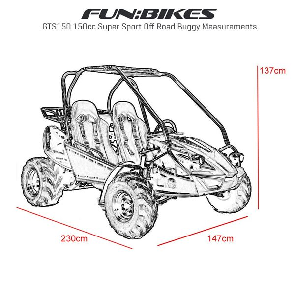Funbikes GTS150 150cc Red Super Sport Off Road Buggy